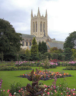 Bury St Edmunds Cathedral rises above the Abbey Gardens